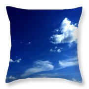 Byzantine Blue Skies With Clouds Throw Pillow