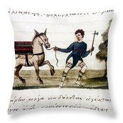 Byzantine Farmer, 15th C Throw Pillow