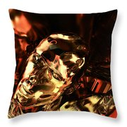 The Thinking Golden Robot Throw Pillow