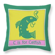 C Is For Catfish Kids Animal Alphabet Throw Pillow