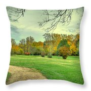 Cabin And Autumn Trees Throw Pillow