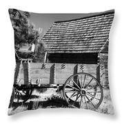 Cabin And Wagon Throw Pillow