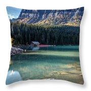 Cabin At Lake Louise Throw Pillow