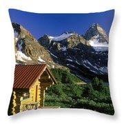 Cabin At Mt Assiniboine Lodge, Mt Throw Pillow