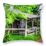 Cabin At The Top Mt Leconte Throw Pillow