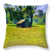 Cabin At Valley Forge Throw Pillow