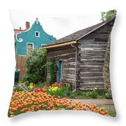 Cabin By The Tulips Throw Pillow