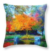 Cabin In Park Throw Pillow