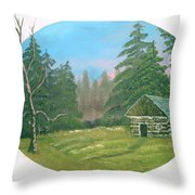 Cabin In The Meadow Throw Pillow