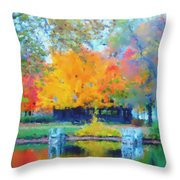 Cabin In The Park II Throw Pillow