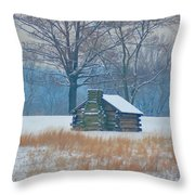 Cabin In The Snow - Valley Forge Throw Pillow