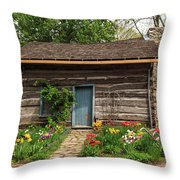 Cabin In The Tulip Patch Throw Pillow