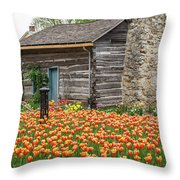 Cabin In The Tulips Throw Pillow