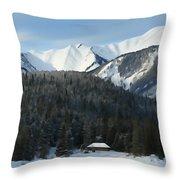 Cabin On Frozen Lake Throw Pillow