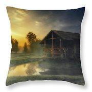 Cabin Sunrise Throw Pillow