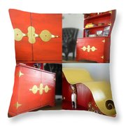 Cabinet And Shelves - Red Nonconformist Throw Pillow