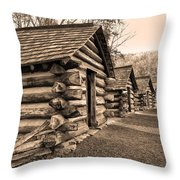 Cabins At Valley Forge In Sepia Throw Pillow