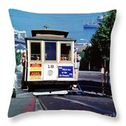 Cable Car 18 Heading Up The Hyde Street Line Throw Pillow