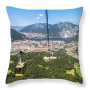 Cable Car Above The City Of Lecco Throw Pillow