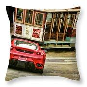Cable Car Meets Ferrari Throw Pillow