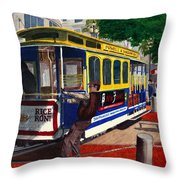 Cable Car Turntable At Powell And Market Sts. Throw Pillow