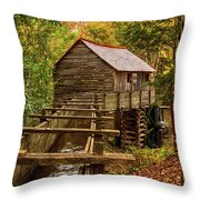 Cable Mill Cades Cove Smoky Mountains Tennessee In Autumn Throw Pillow