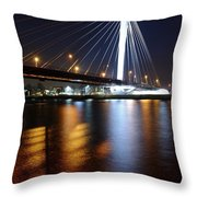 Cable-stayed Bridge Prins Clausbrug In Utrecht At Night 22 Throw Pillow