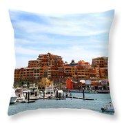Cabo San Lucas Marina Throw Pillow