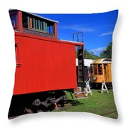 Caboose At Shelburne Trolley Museum Throw Pillow