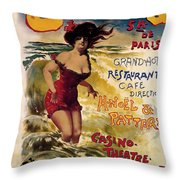 Cabourg - Paris - Grand Hotel - Vintage Restaurant Advertising Poster Throw Pillow
