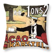 Cacao Karstel - Vintage Cacao Advertising Poster Throw Pillow