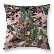 Cacti And Leaves Throw Pillow