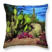 Cacti And Rock Throw Pillow