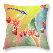 Cactus And Firefly Throw Pillow