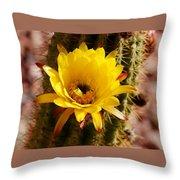 Cactus Bloom Yellow 050914a Throw Pillow