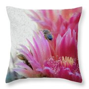 Cactus Flower And A Busy Bee Throw Pillow