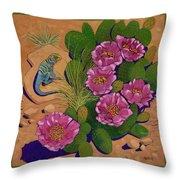 Cactus Flower Lizard Throw Pillow