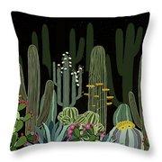 Cactus Garden At Night Throw Pillow