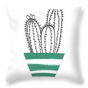 Cactus In A Green Pot- Art By Linda Woods Throw Pillow by Linda Woods
