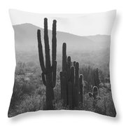 Cactus In Black And White Throw Pillow