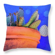 Cactus With Blue Dots Throw Pillow