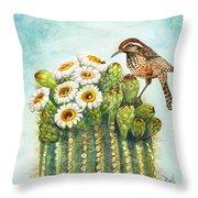 Cactus Wren And Saguaro Throw Pillow