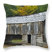 Cades Cove Barn Throw Pillow