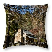 Cades Cove Early Settler Cabin  Throw Pillow