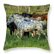 Cades Cove Horses Throw Pillow