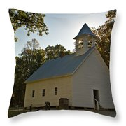 Cades Cove Methodist Church Aglow Throw Pillow