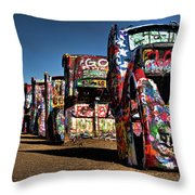 Cadillac Ranch Throw Pillow by Lana Trussell