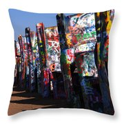 Cadillac Ranch Route 66 Throw Pillow