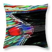 Cadillac Tail Fin Guitar Fantasy Throw Pillow