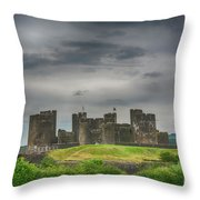 Caerphilly Castle East View 3 Throw Pillow